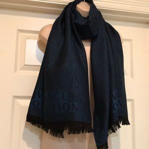 Versace Collection Logo Blue and Black Wool Scarf